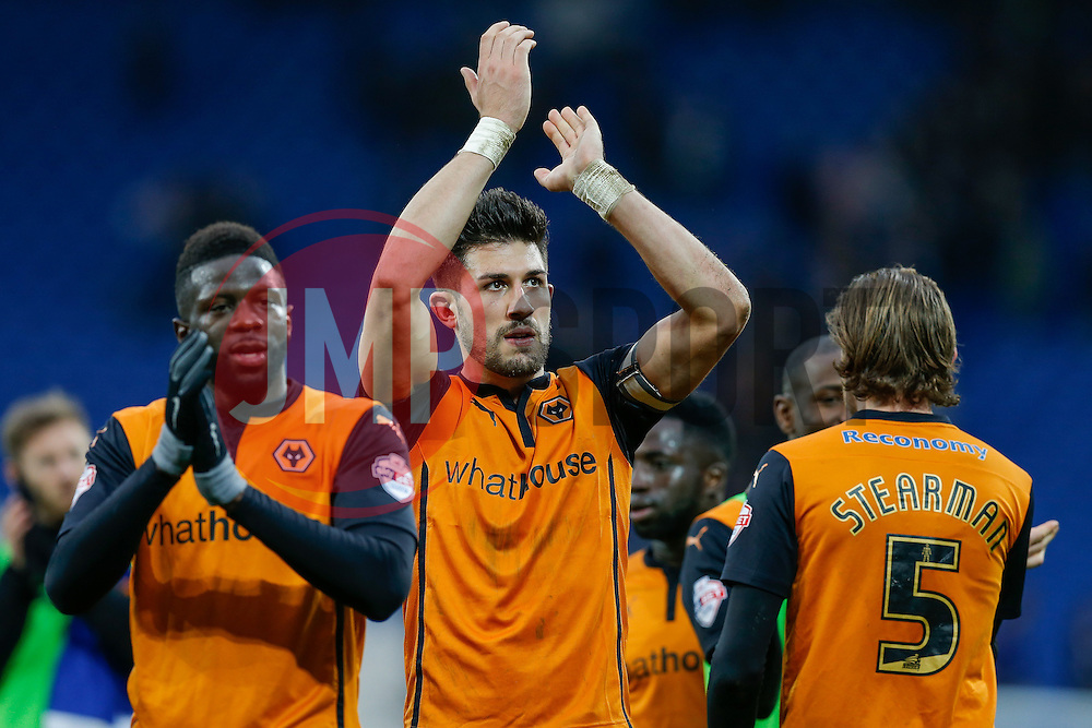 Danny Batth celebrates after Wolverhampton Wanderers win the match 0-1 - Photo mandatory by-line: Rogan Thomson/JMP - 07966 386802 - 28/02/2015 - SPORT - FOOTBALL - Cardiff, Wales - Cardiff City Stadium - Cardiff City v Wolverhampton Wanderers - Sky Bet Championship.