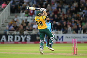 Jake Ball of Nottinghamshire Outlaws plays the ball over the wicket keeper  during the Vitality T20 Blast North Group match between Nottinghamshire County Cricket Club and Worcestershire County Cricket Club at Trent Bridge, West Bridgford, United Kingdon on 18 July 2019.
