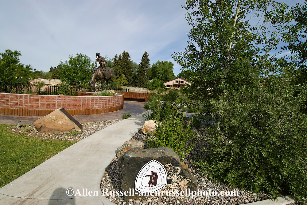 Sacajawea statue and baby Pompey, companion of Lewis and Clark, Sacajawea Park, Livingston, Montana