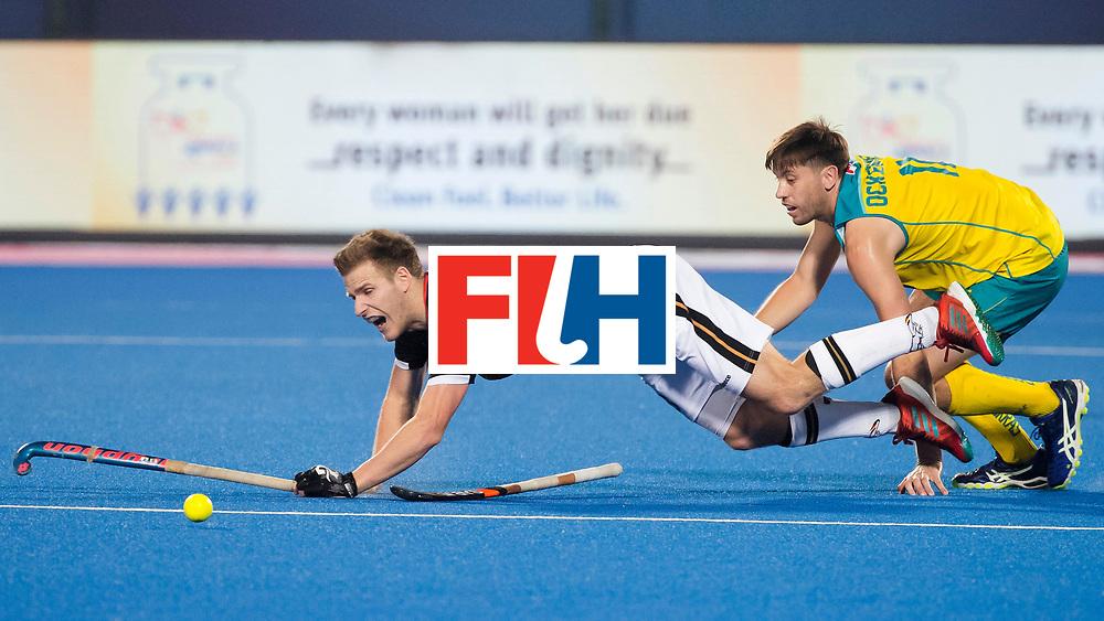 BHUBANESWAR - The Odisha Men's Hockey World League Final . Match ID 05 . Germany  v Australia . Ferdinand Weinke (Ger) with Eddie Ockenden (Aus), who played his 300e cap. .  WORLDSPORTPICS COPYRIGHT  KOEN SUYK