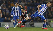 AFC Bournemouth midfielder Marc Pugh wins the ball during the Sky Bet Championship match between Brighton and Hove Albion and Bournemouth at the American Express Community Stadium, Brighton and Hove, England on 10 April 2015. Photo by Phil Duncan.