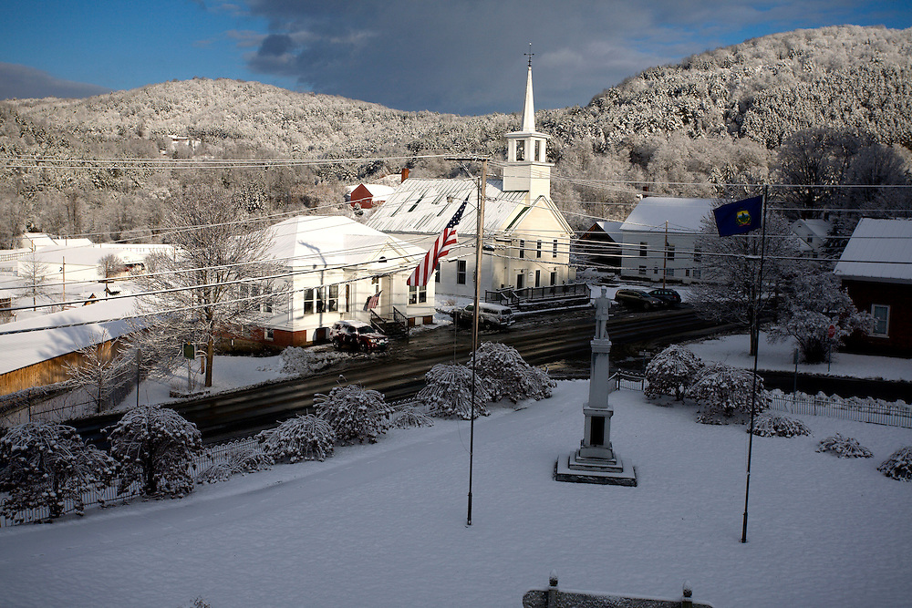A fresh snowfall covers the village of Tunbridge, Vt., on Dec. 8, 2011. The village and the fairgrounds below it were placed on the National Register of Historic Places in 1994. (Photo by Geoff Hansen)