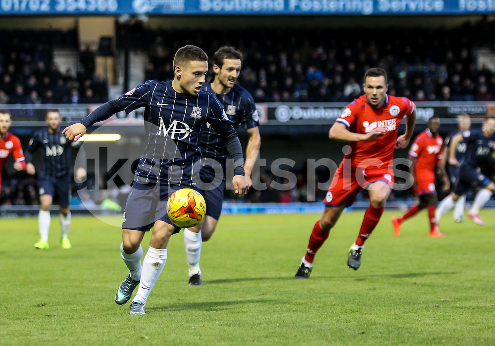 Jack Payne of Southend United in action during the Sky Bet League 1 match between Southend United and Wigan Athletic at Roots Hall, Southend, England on the 28th November 2015. Photo by Ken Sparks.