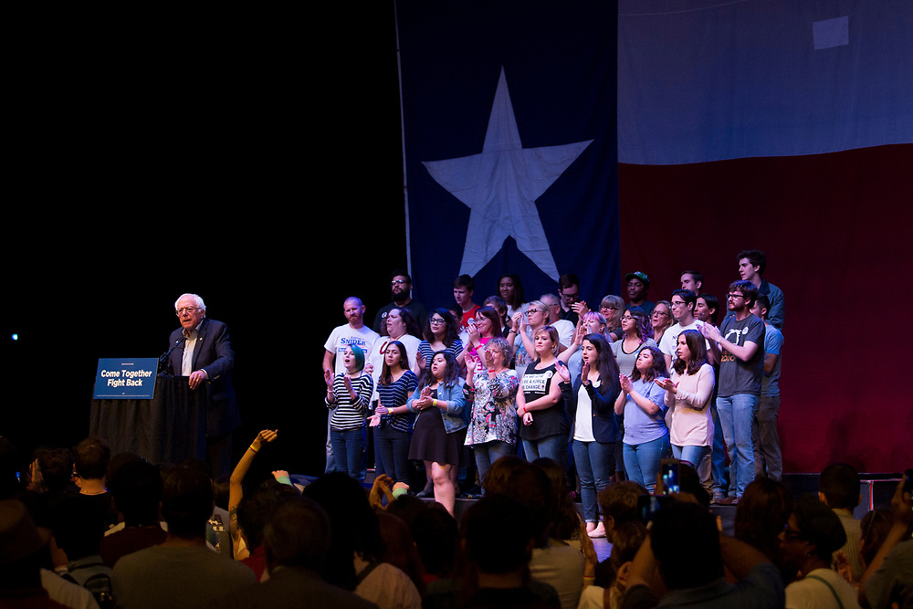 Bernie Sanders speaks at the Verizon Theater in Grand Prairie, Texas on April 19, 2017. (Cooper Neill for The Texas Tribune)