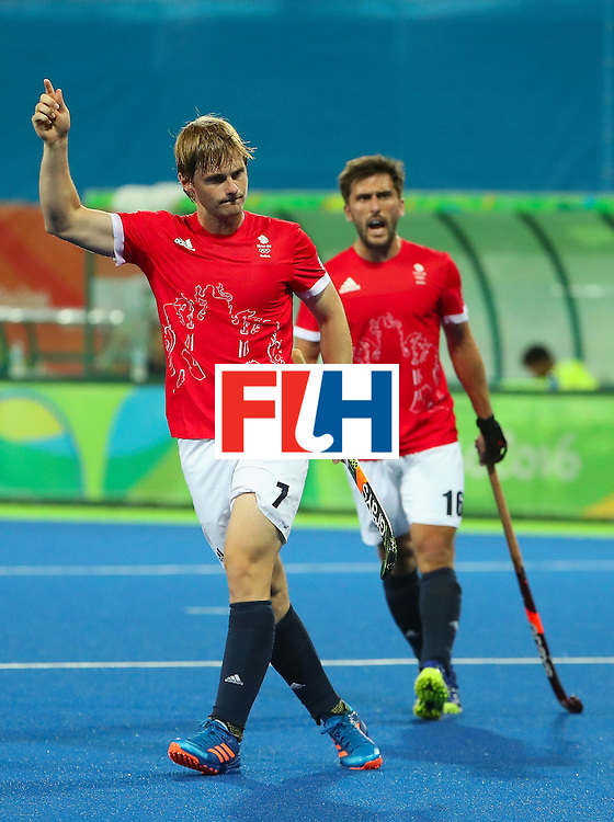 RIO DE JANEIRO, BRAZIL - AUGUST 09:  Ashley Jackson #7 of Great Britain celebrates after scoring a goal against Brazil during the hockey game on Day 4 of the Rio 2016 Olympic Games at the Olympic Hockey Centre on August 9, 2016 in Rio de Janeiro, Brazil.  (Photo by Christian Petersen/Getty Images)