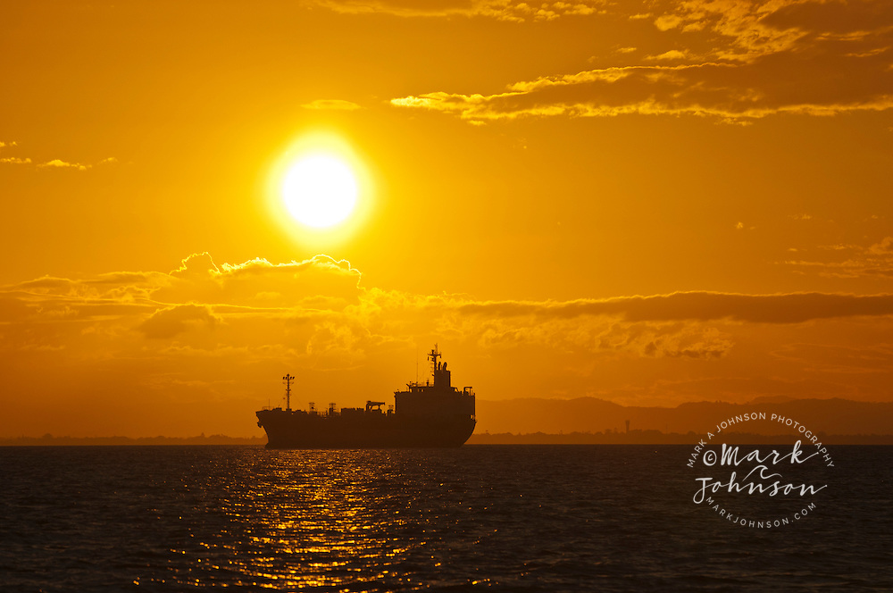 Containership anchored in Moreton Bay, Queensland, Australia