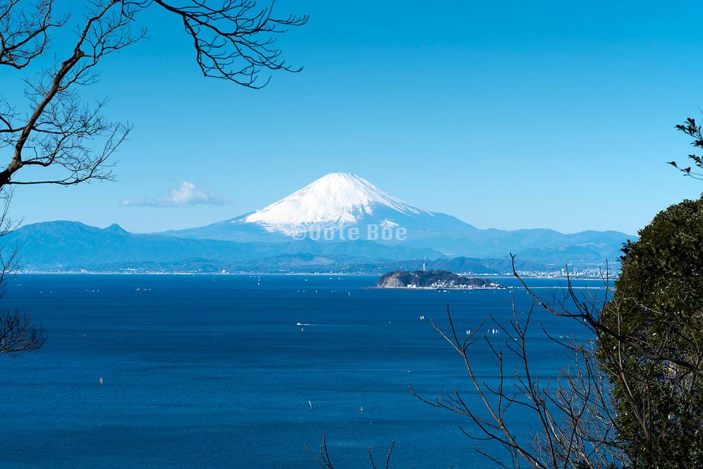 Mt Fuji  with the island Enoshima seen from Zushi