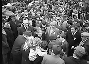Image of Fianna Fáil leader Charles Haughey touring West Cork during his 1982 election campaign...04/02/1982.02/04/82.4th February 1982..Crowded out:..Charles Haughey surrounded by well wishers on the streets as he seeks their votes in the upcoming general election..