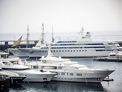 September 24, 2016 - Monaco, Monaco - Superyacht 'Lady Moura'' (105m) pictured behind other superyachts in Port Hercules for the 26th Monaco Yacht Show with some 125 of the most desirable superyachts from around the world on display between 28 September and 1 October. The Monaco Yacht Show is held in Port Hercules, and is Europe's biggest in-water display of superyachts. (Credit Image: © Hugh Peterswald/Pacific Press via ZUMA Wire)