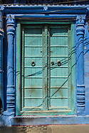 Blue & Green Doorway in Jodhpur, India