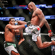 01/18/2015  BOSTON, MA   Uriah Hall (cq) (right) fights Ron Stallings (cq) in a middleweight matchup during a UFC Fight Night held at TD Garden (cq) in Boston. Hall won by TKO.   (Aram Boghosian for The Boston Globe)