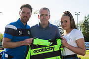 Forest Green Rovers Scott Laird(3) with the match sponsor during the EFL Sky Bet League 2 match between Forest Green Rovers and Grimsby Town FC at the New Lawn, Forest Green, United Kingdom on 5 May 2018. Picture by Shane Healey.