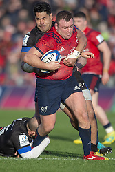 December 9, 2018 - Limerick, Ireland - Dave Kilcoyne of Munster tackled by Alex Tulou of Castres during the Heineken Champions Cup Round 3 match between Munster Rugby and Castres Qlympique at Thomond Park Stadium in Limerick, Ireland on December 9, 2018  (Credit Image: © Andrew Surma/NurPhoto via ZUMA Press)