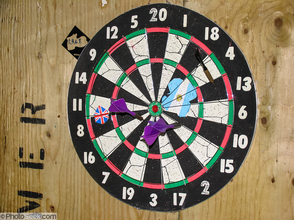 A dart board entertains scientists at an Antarctic base.