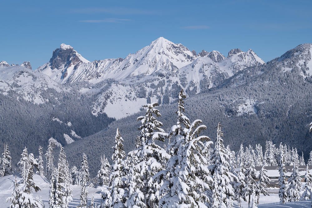 American Border Peak and Mount Larrabee in winter, North Caascades Washington