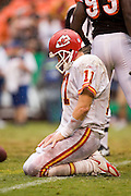 KANSAS CITY, MO - SEPTEMBER 10:  Quarterback Damon Huard of the Kansas City Chiefs looks disappointed after being sacked during a game against the Cincinnati Bengals on September 10, 2006 at Arrowhead Stadium in Kansas City, Missouri..The Bengals won 23 to 10.  (Photo by Wesley Hitt/Getty Images)***Local Caption***Damon Huard