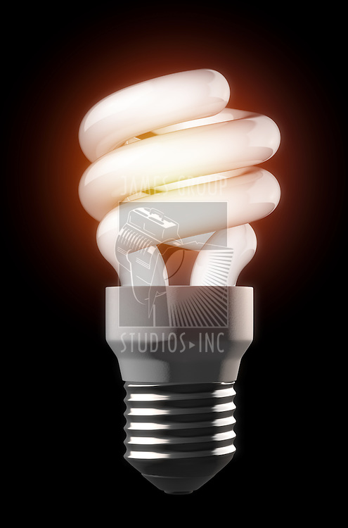 A high contrast composition of a ightbulb over a dark smooth background. Project created using 3d app.
