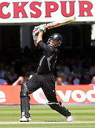 Photo © ANDREW FOSKER / SECONDS LEFT IMAGES 2008  - Key NZ batsman Jacob Oram (52 runs) launches an enormous drive off the last ball of Graeme Swann 's stint but is caught by Stuart Broad - England v New Zealand Black Caps - 5th ODI - Lord's Cricket Ground - 28/06/08 - London -  UK - All rights reserved