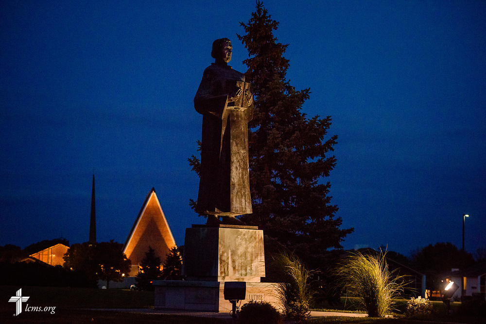 The statue of Martin Luther is lit before the evening 500th Anniversary of the Reformation service on Tuesday, Oct. 31, 2017, at Concordia Theological Seminary, Fort Wayne, Ind. LCMS Communications/Erik M. Lunsford