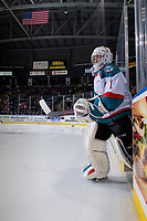 KELOWNA, CANADA - JANUARY 9:  James Porter #1 of the Kelowna Rockets enters the ice against the Everett Silvertips on January 9, 2019 at Prospera Place in Kelowna, British Columbia, Canada.  (Photo by Marissa Baecker/Shoot the Breeze)