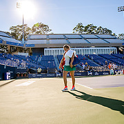 August 22, 2016, New Haven, Connecticut: <br /> Jelena Ostapenko of Latvia walks off the court after defeating Caroline Wozniacki of Denmark during a match a match on Day 4 of the 2016 Connecticut Open at the Yale University Tennis Center on Monday August  22, 2016 in New Haven, Connecticut. <br /> (Photo by Billie Weiss/Connecticut Open)