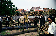 Group of people in timber yard market rural countryside area, Romania, eastern Europe 1967