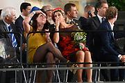 Koningin Maxima opent Markthal Rotterdam, de eerste overdekte versmarkthal in Nederland geïnspireerd op versmarkten elders in Europa.<br /> <br /> Queen Maxima opens in Rotterdam The Market Hall, the first covered market hall  in the Netherland inspired on other markets elsewhere in Europe.<br /> <br /> op de foto / On the photo:  kunstenaar  Iris Roskam in gesporejk met Koningin Maxima / Artist Iris Roskam in conversation with Queen Maxima