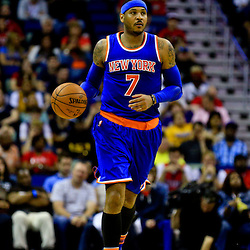 Mar 28, 2016; New Orleans, LA, USA; New York Knicks forward Carmelo Anthony (7) against the New Orleans Pelicans during the second quarter of a game at the Smoothie King Center. Mandatory Credit: Derick E. Hingle-USA TODAY Sports