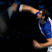 16.11.2017 Nitto ATP World Tour Finals at O2 Arena London UK Roger Federer SUI v Marin Cilic CRO Cilic in action during a qualifying match for the quarter finals.