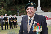 Ex-Japanese prisoner of War, Roy Welland (94) during the Remembrance Day ceremonies at the Commonwealth War Cemetery in Hodogaya, Yokohama, Japan. Wednesday November 11th 2015 Roy Welland is from Colchester in Essex and served with the Royal Berkshire regiment in India in WW2