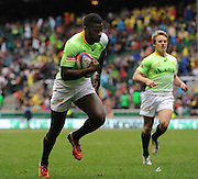LONDON, ENGLAND - Saturday 10 May 2014, Jamba Ulenga of South Africa during the match between South Africa and Scotland at the Marriott London Sevens rugby tournament being held at Twickenham Rugby Stadium in London as part of the HSBC Sevens World Series.<br /> Photo by Roger Sedres/ImageSA