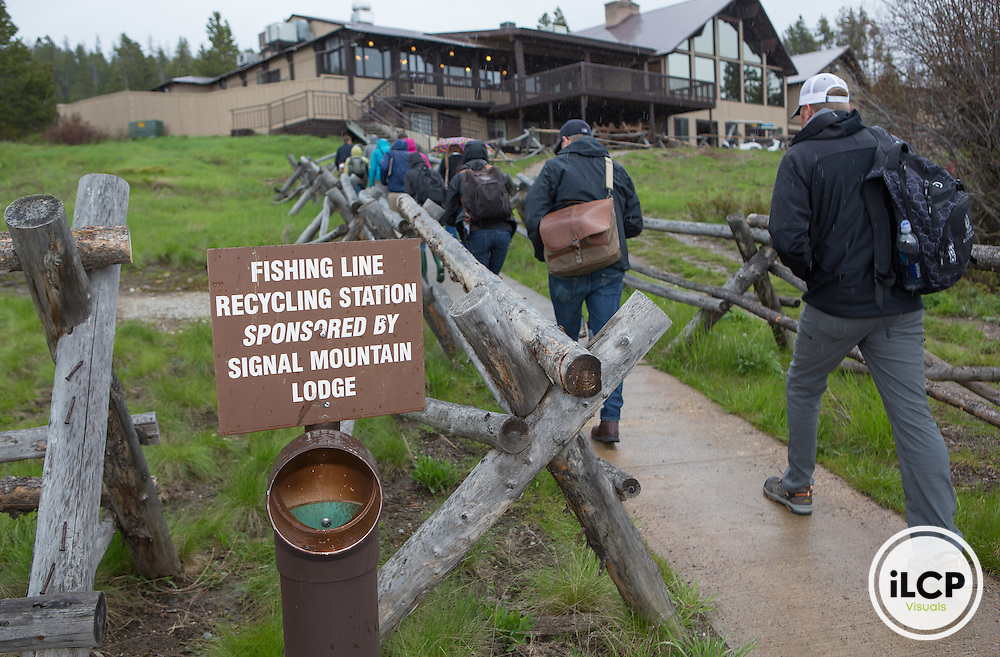 Fishing line recycling station at Signal Mountain Lodge in Grand Teton National Park.