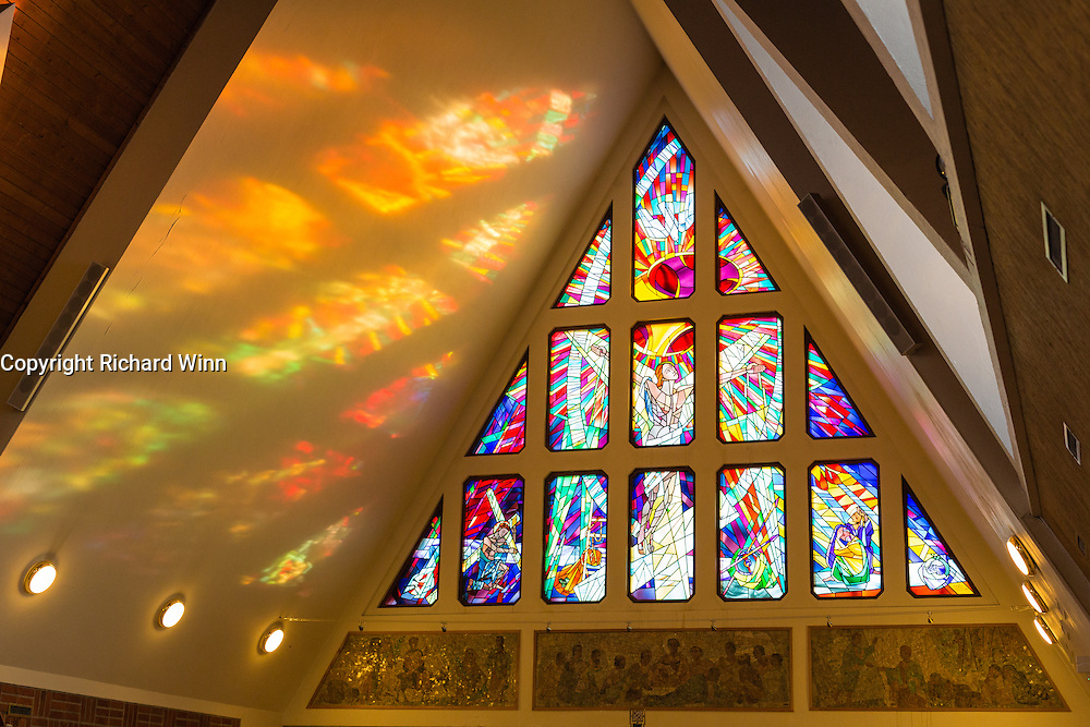 Stained glass window inside Hammerfest Church, northern Norway.