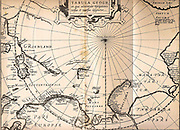 Map of 1611 of the third voyage of William Barentsz (c1550-1597) Dutch navigator, Arctic explorer and cartographer. This voyage of 1596-1597 was an attempt to find the Northeast  Passage.