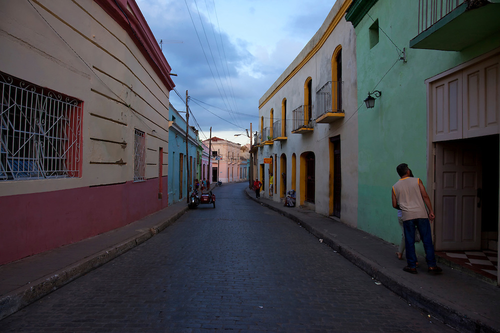 Evening street in Camaguey city, Camaguey, Cuba.