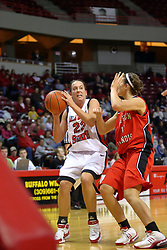 31 December 2007: Danielle Calef works the ball in against Whitney Lowe. The Huskies of Northern Illinois University were leashed up by the Redbirds of Illinois State University 78-54 on Doug Collins Court in Redbird Arena in Normal Illinois.