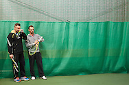 (L) Bartlomiej Dabrowski trainer assistant and former tennis player and (R) Radoslaw Szymanik trainer coach and captain of Polish Davis Cup Team during training session while Polish Tennis Association Davis Cup Team Training Camp at Deski Tennis Club in Warsaw, Poland.<br /> <br /> Poland, Warsaw, December 18, 2014<br /> <br /> Picture also available in RAW (NEF) or TIFF format on special request.<br /> <br /> For editorial use only. Any commercial or promotional use requires permission.<br /> <br /> Mandatory credit:<br /> Photo by © Adam Nurkiewicz / Mediasport