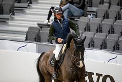 GUERDAT Steve (SUI), Alamo<br /> Göteborg - Gothenburg Horse Show 2019 <br /> Longines FEI Jumping World Cup™ Final<br /> Training Session<br /> Warm Up Springen / Showjumping<br /> Longines FEI Jumping World Cup™ Final and FEI Dressage World Cup™ Final<br /> 03. April 2019<br /> © www.sportfotos-lafrentz.de/Stefan Lafrentz