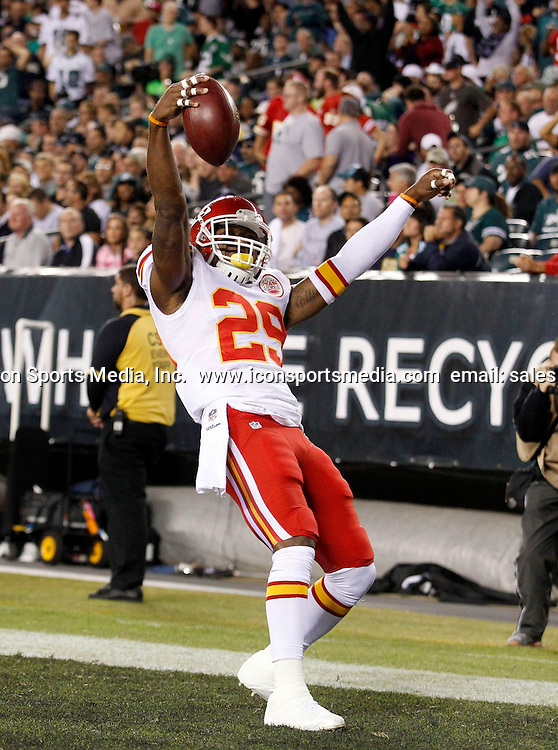Sept. 19, 2013 - Philadelphia, PA, USA - The Kansas City Chiefs' Eric Berry celebrates a 38-yard interception return for a touchdown against the Philadelphia Eagles during the first quarter at Lincoln Financial Field in Philadelphia, Pennsylvania, on Thursday, September 19, 2013