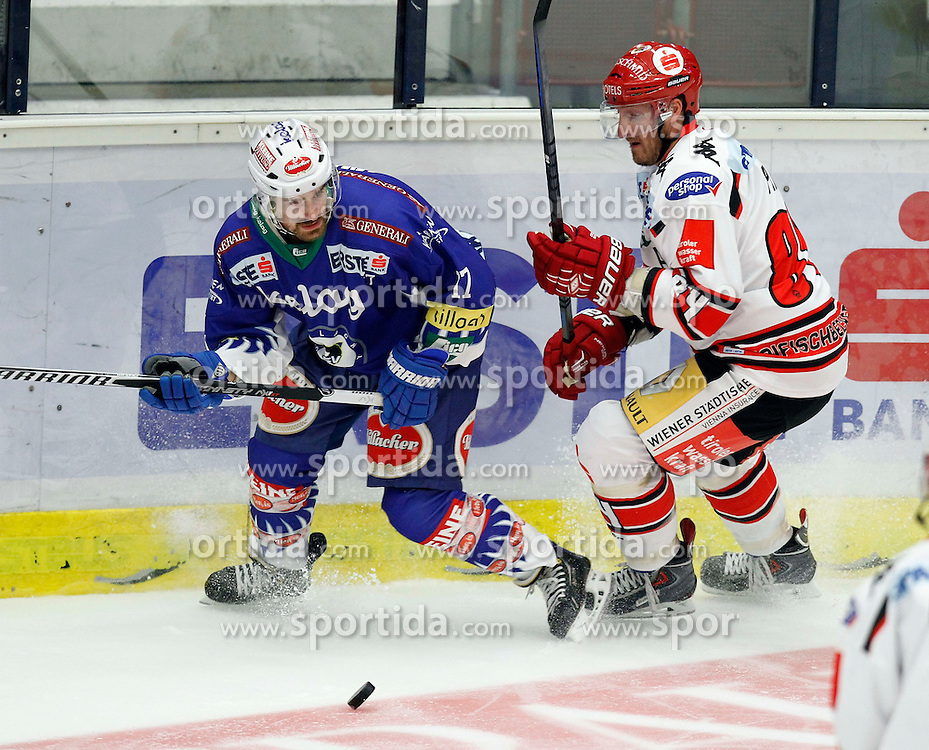 19.09. 2014, Stadthalle, Villach, AUT, EBEL, EC VSV vs HC TWK Innsbruck 3. Runde, im Bild v.l.Sean Ringrose (VSV) und Stefan Pittl (Innsbruck) // during the Erste Bank Icehockey League 3rd round match between EC VSV vs HC TWK Innsbruck at the City Hall in Villach, Austria, 2014/09/19, EXPA Pictures © 2014, PhotoCredit: EXPA/ Oskar Hoeher