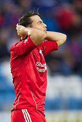 MOLDE, NORWAY - Wednesday, September 7, 2011: Liverpool's 'Suso' Jesus Fernandez Saez looks dejected against Molde during the second NextGen Series Group 2 match at Aker Stadion. (Photo by Vegard Grott/Propaganda)