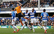 Wolverhampton Wanderers defender Danny Batth thinks he should have gotten a penalty from a corner during the Sky Bet Championship match between Queens Park Rangers and Wolverhampton Wanderers at the Loftus Road Stadium, London, England on 23 January 2016. Photo by Andy Walter.