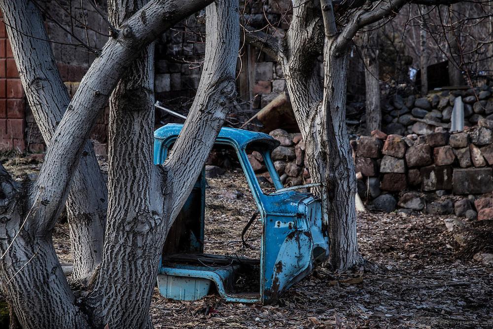 Abandoned blue truck cabin between the trees. Mastara, Armenia