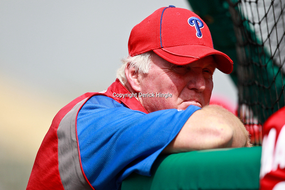 March 9, 2011; Lakeland, FL, USA; Philadelphia Phillies manager Charlie Manuel (41) before a spring training exhibition game against the Detroit Tigers at Joker Marchant Stadium.   Mandatory Credit: Derick E. Hingle