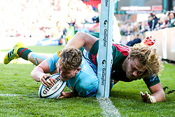Ted Hill of Worcester Warriors scores the winning try against Leicester Tigers - Mandatory by-line: Robbie Stephenson/JMP - 23/09/2018 - RUGBY - Welford Road Stadium - Leicester, England - Leicester Tigers v Worcester Warriors - Gallagher Premiership