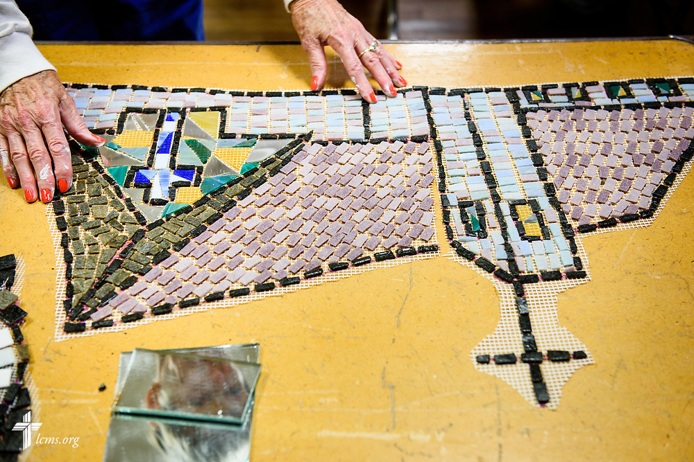 Tiles mimicking Zion Lutheran Church are prepared for installation on the building across from Zion Lutheran Church, Worms, Neb., on Saturday, Sept. 23, 2017. The mural project by artist Rachel Ziegler commemorates the 500th anniversary of the Lutheran Reformation. LCMS Communications/Erik M. Lunsford