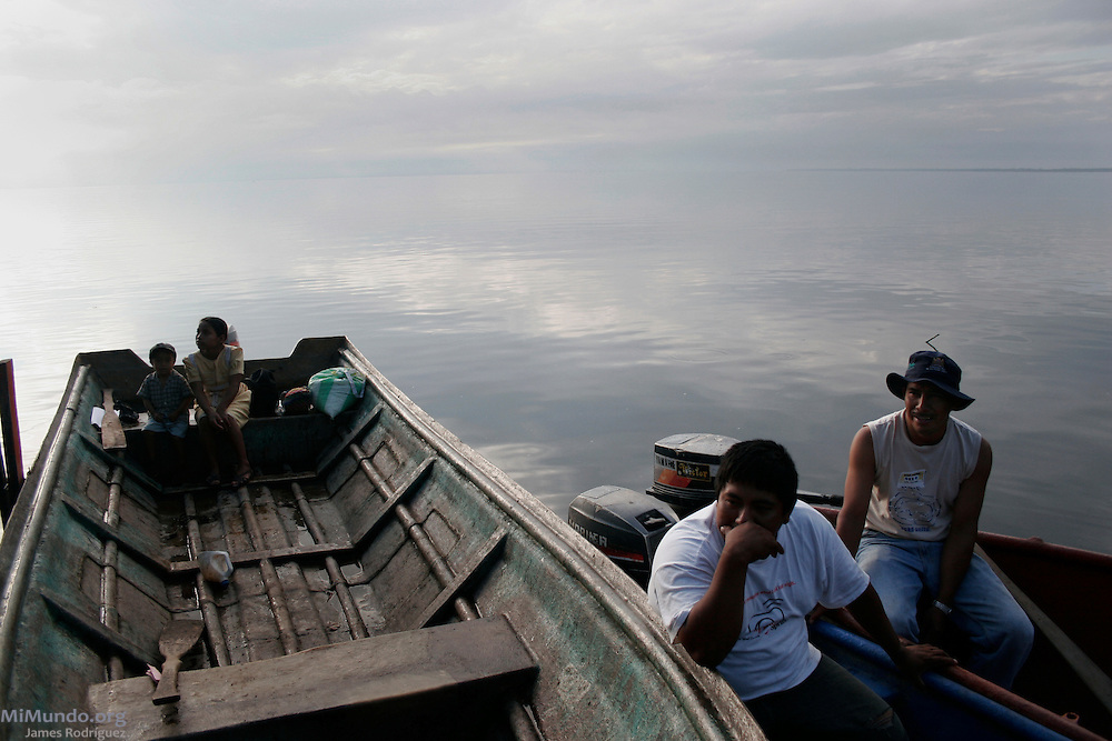 Local fishermen prepare for a fishing session. Guatemala's largest fresh water body, Lake Izabal, is a natural reserve and home to dozens of lakeside Q'eqchi' Mayan communities. The lake is threatened by a Canadian-owned nickel mine ran by the Guatemalan Nickel Company.