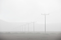 Heavy ashfall from Volcano Eyjafjallajökull in the Eyjafjöll region, South Iceland. The row of power poles helps show the depth in the thick mist of the ash.