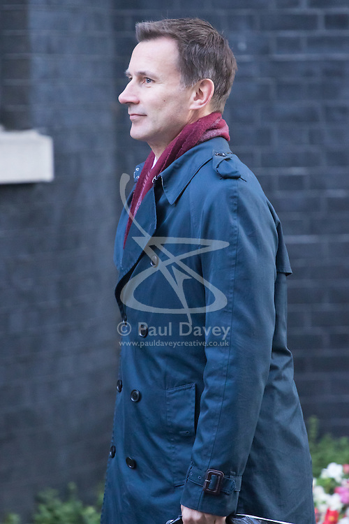 Downing Street, London, October 11th 2016. Government ministers arrive for the first post-conference cabinet meeting. PICTURED: Health Secretary Jeremy Hunt