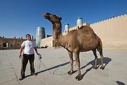Uzbekistan, Khiva. Khiva's last camel waiting to be photographhed with tourists.